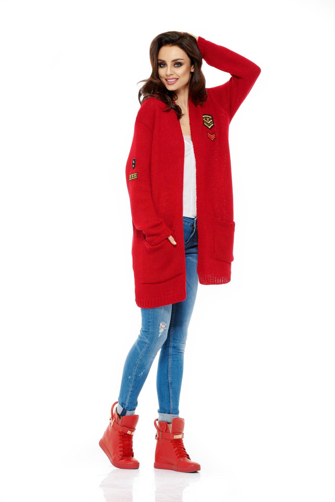 Pletený kabátek, červená, jednotná