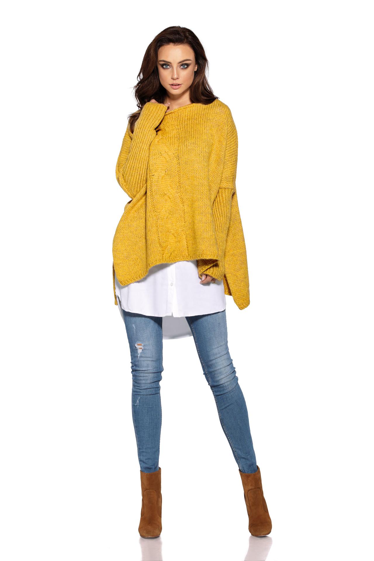 Trendy pončo svetr, žlutá, jednotná