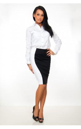 Elegantní sukně s pruhem, černá, jednotná