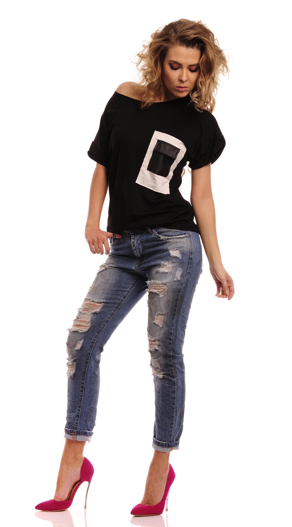 Triko s  kapsou z eko-kůže, černá, jednotná