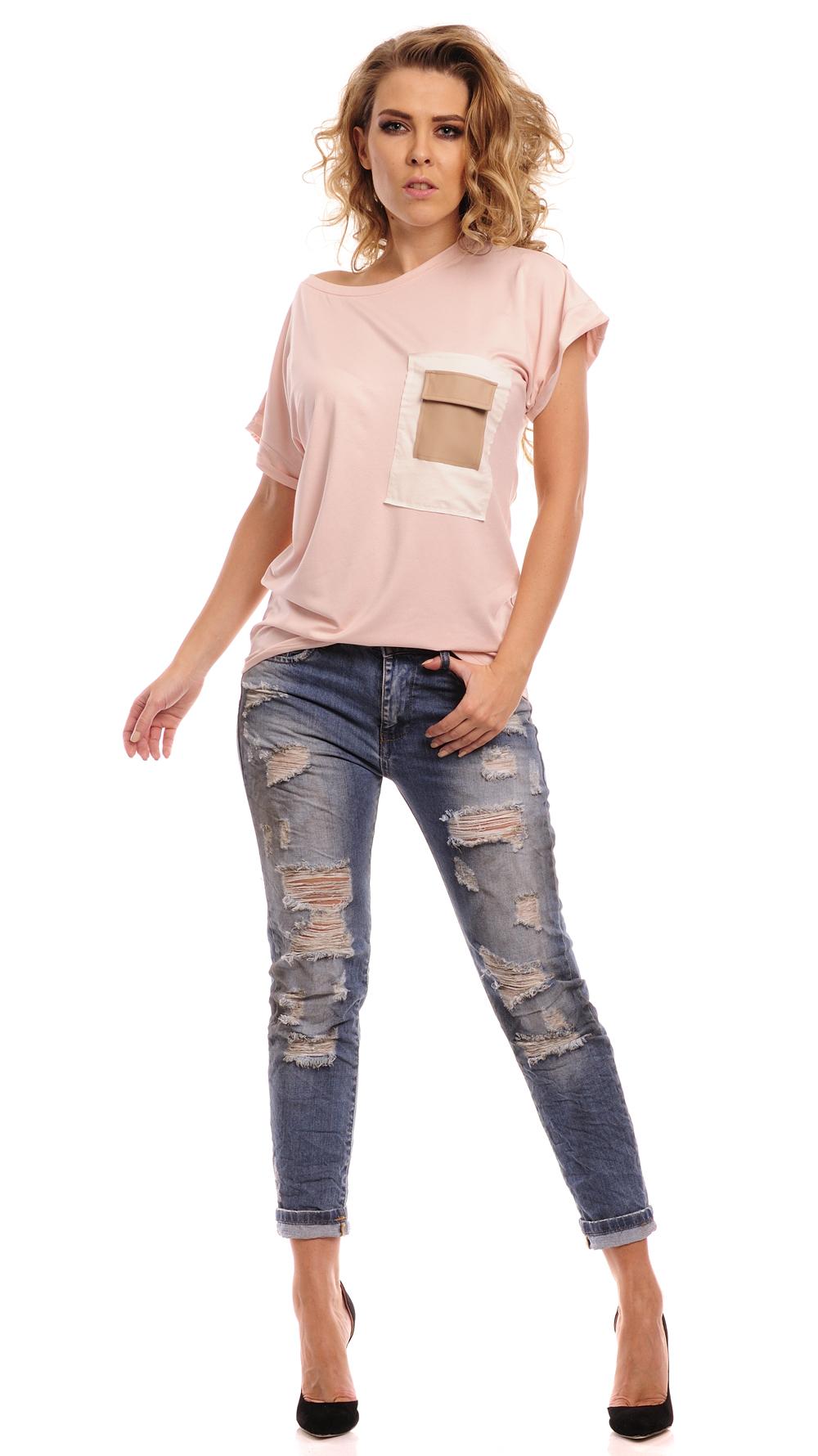 Triko s  kapsou z eko-kůže, růžová, jednotná