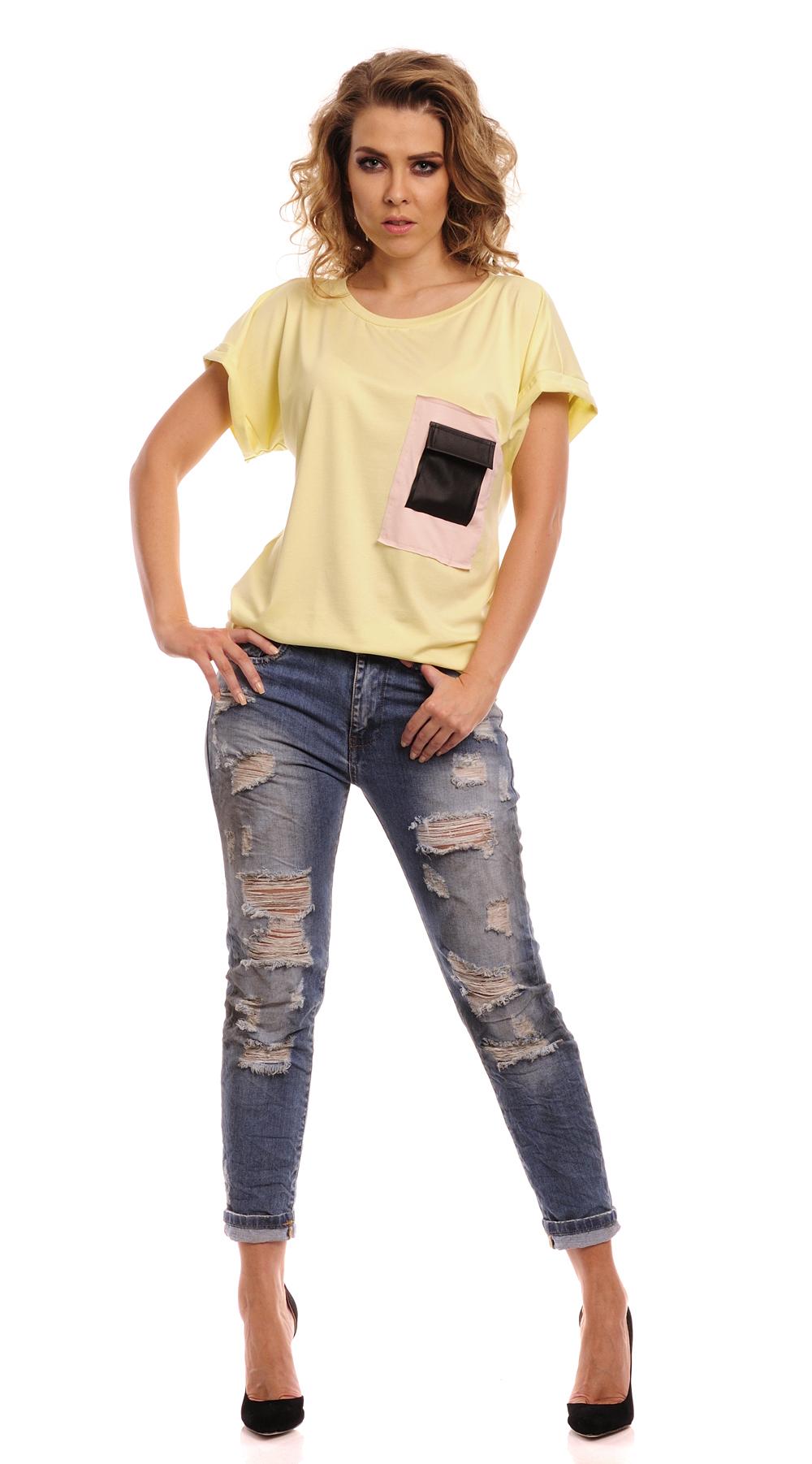Triko s  kapsou z eko-kůže, žlutá, jednotná