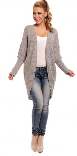 Trendy svetrový kabátek, šedá, jednotná