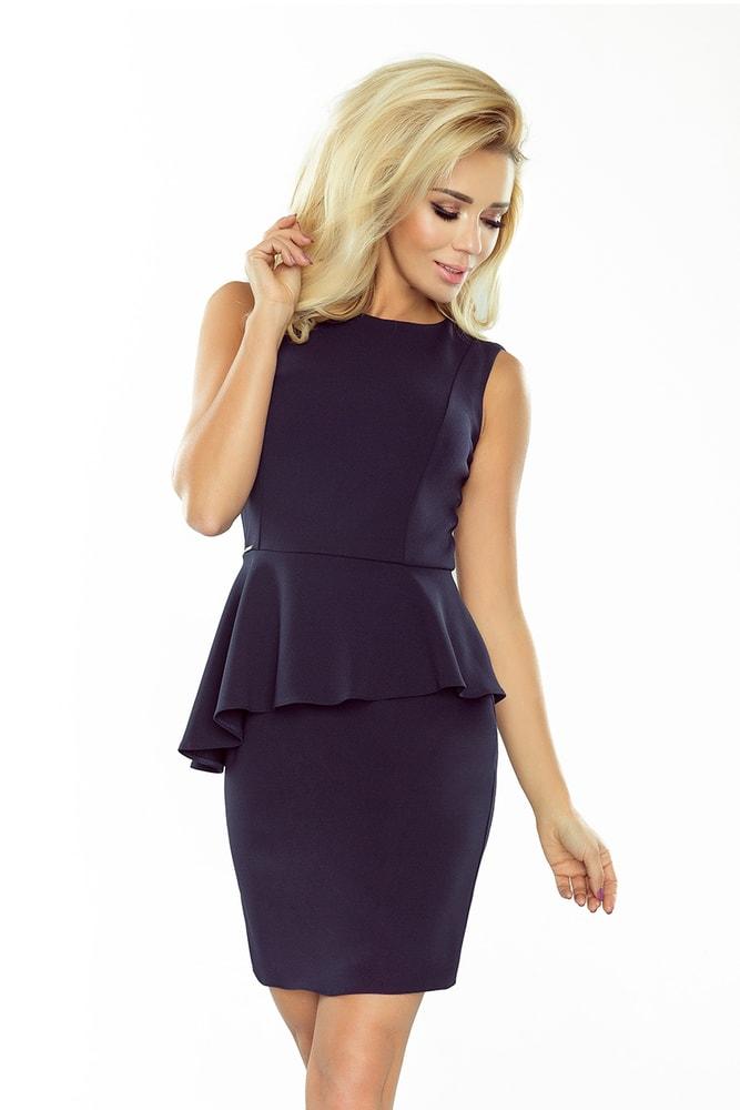 Elegantní dámské šaty s asymetrickým volánem, navy, S