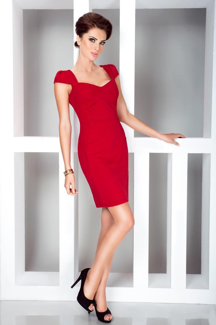 Elegantní minišaty s výstřihem, červená, M