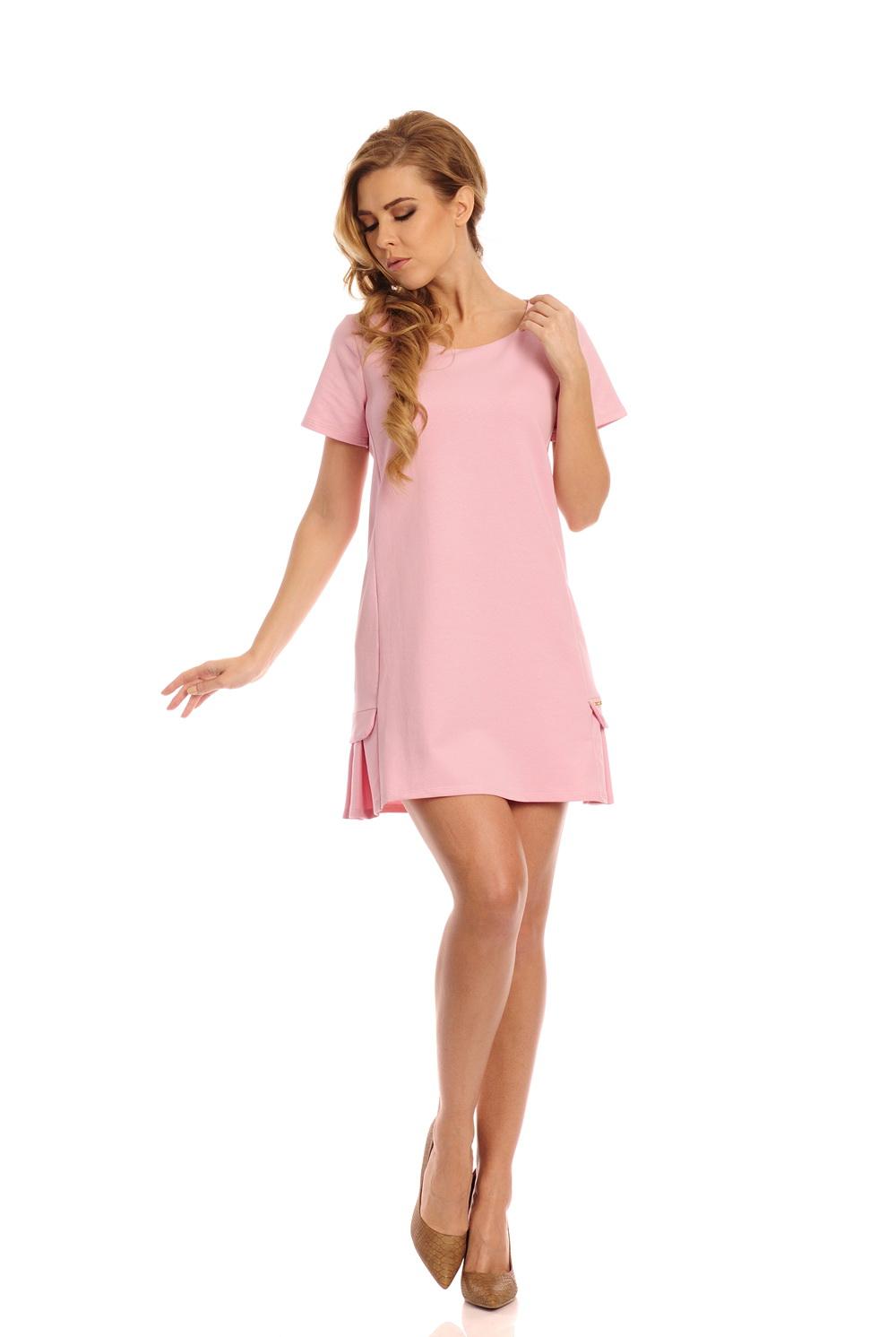 Bavlněné šaty se skladem, růžová, M