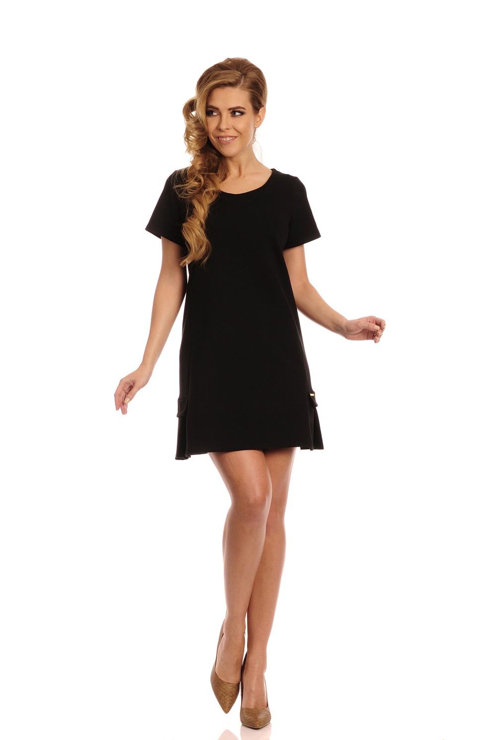 Bavlněné šaty se skladem, černá, M