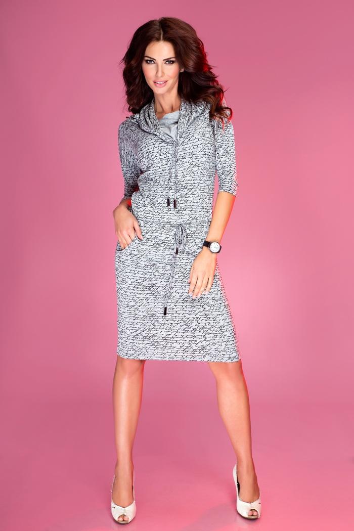Sportovní šaty s rolákem, světle šedá, XL