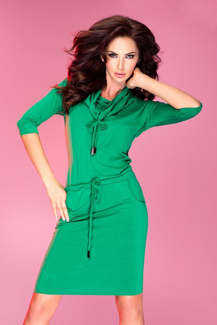 Sportovní šaty s rolákem, zelená, L