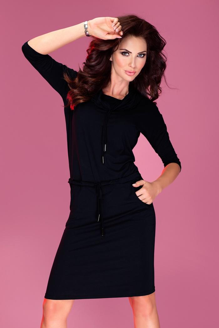 Sportovní šaty s rolákem, černá, XL