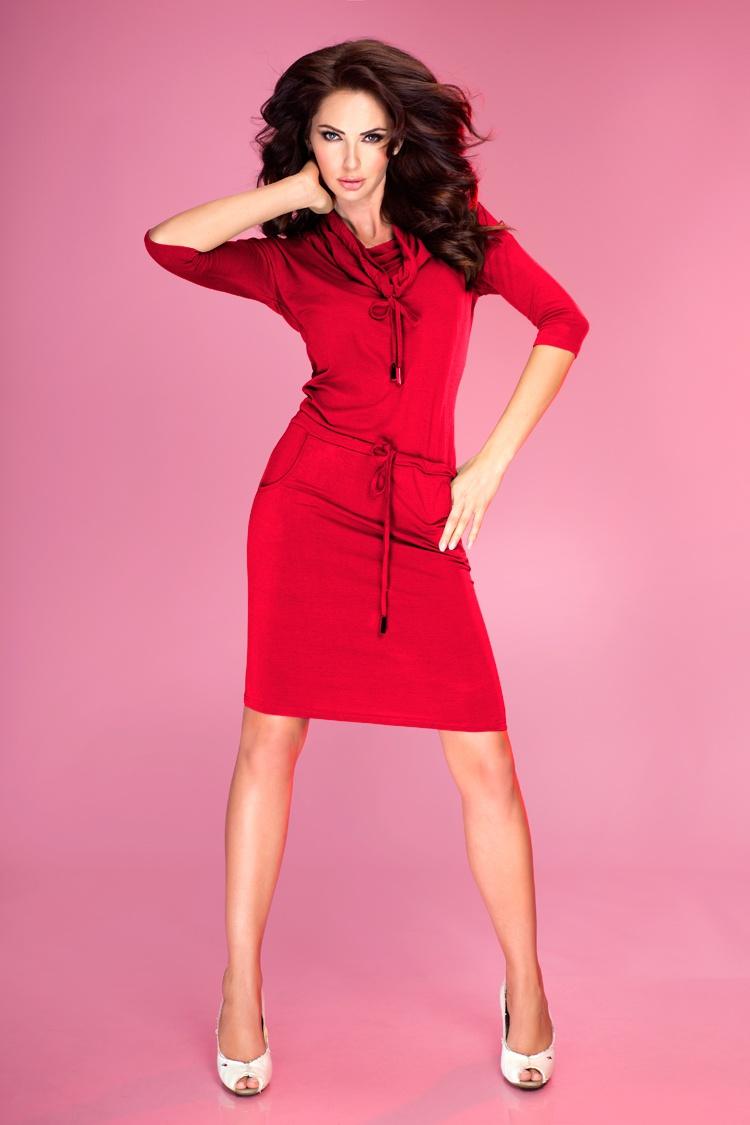 Sportovní šaty s rolákem, červená, S